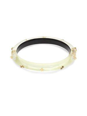 Alexis Bittar Lucite Studded Hinge Bangle In Ivory