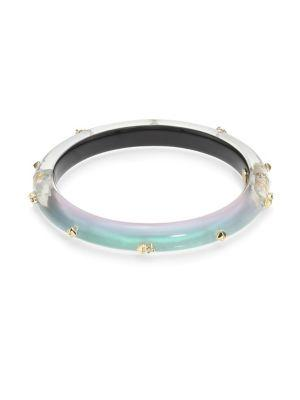 Alexis Bittar Lucite Studded Hinge Bangle In Green