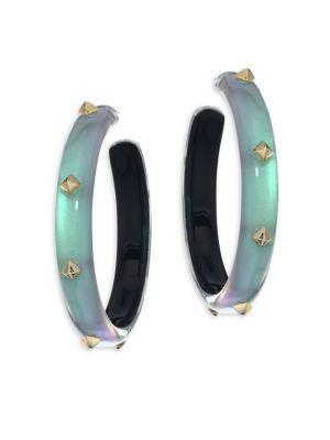 "Alexis Bittar Lucite Studded Hoop Earrings/2"" In Green"