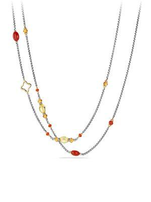 David Yurman Bead And Chain Necklace With Carnelian, Amber, Citrine And 18K Gold