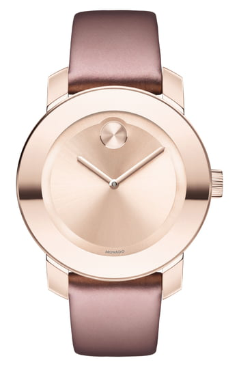 Movado Bold Pink Ip Stainless Steel & Soft Rose Leather Strap Watch In Pink/ Rose Gold