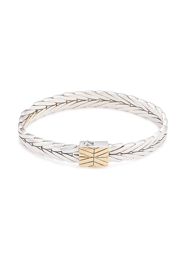 John Hardy Classic Chain Hammered 18K Yellow Gold & Silver Medium Chain Bracelet In Silver-Gold