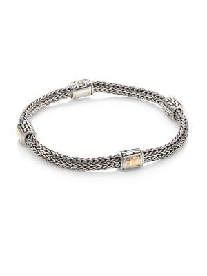 John Hardy Classic Chain Extra Small Hammered Four Station Bracelet In Silver