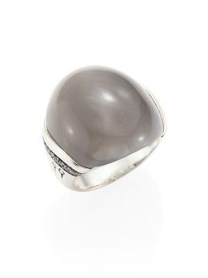 John Hardy Sterling Silver Bamboo Small Ring With Grey Moonstone And Grey Diamonds