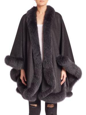 Sofia Cashmere Dyed Fox Fur-Trim Cashmere Wrap In Charcoal