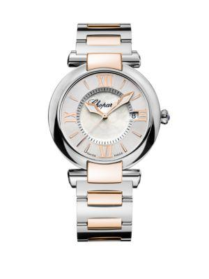 Chopard Imperiale Mother-Of-Pearl, 18K Rose Gold & Stainless Steel Bracelet Watch In Silver-Rose Gold
