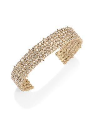 Alexis Bittar Elements Crystal-Encrusted Cuff In Yellow Gold