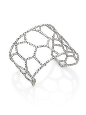 Alexis Bittar Elements Honeycomb Crystal Cuff In Silver