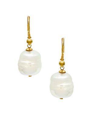 Majorica Baroque Manmade Organic Pearl Drop Earrings In White