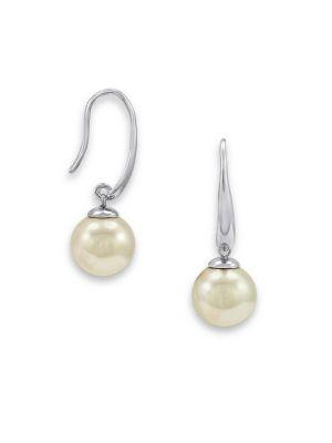 Majorica Drop 10Mm White Pearl Earrings