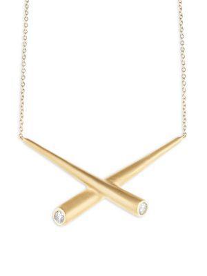 Carelle Whirl Diamond & 18K Yellow Gold Collar Necklace