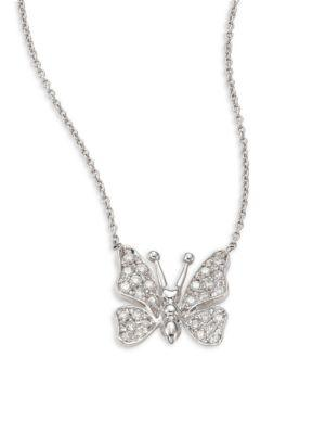 Roberto Coin Small Butterfly Diamond & 18K White Gold Pendant Necklace