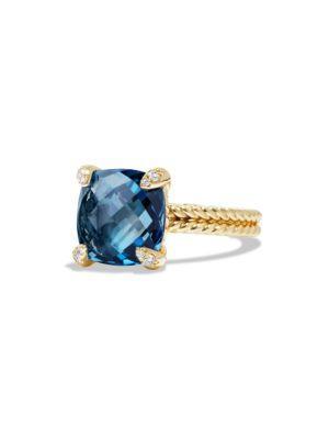 David Yurman Chatelaine Ring With Hampton Blue Topaz And Diamonds In 18K Gold
