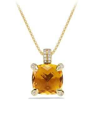 David Yurman ChÂTelaine® Pendant Necklace With Gemstone And Diamonds In 18K Gold In Citrine