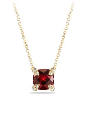 David Yurman ChÂTelaine Pendant Necklace With Gemstone And Diamonds In 18K Gold In Garnet