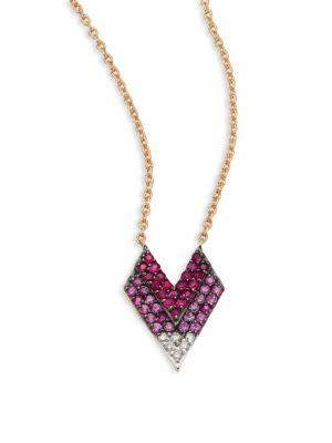 Kismet By Milka Shades Of Love Diamond, Ruby, Pink Sapphire & 14K Rose Gold Pendant Necklace In Rose Gold-Pink Sapphire