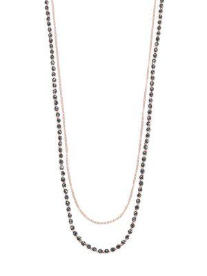 Astley Clarke Biography Hematite & White Sapphire Sun Beaded Necklace In Rose Gold-Hematite