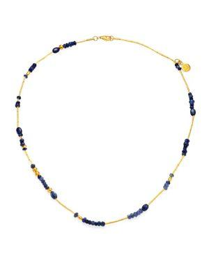 Gurhan Delicate Rain Blue Sapphire & 24K Yellow Gold Beaded Necklace In Gold-Blue Sapphire