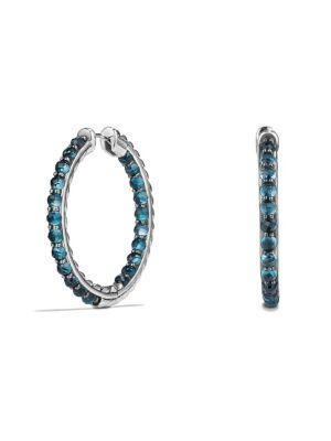 David Yurman Osetra Hoop Earrings With Hampton Blue Topaz