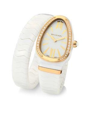 Bvlgari Serpenti Diamond, 18k Rose Gold & White Ceramic Wraparound Tubogas Bracelet Watch In Gold-multi
