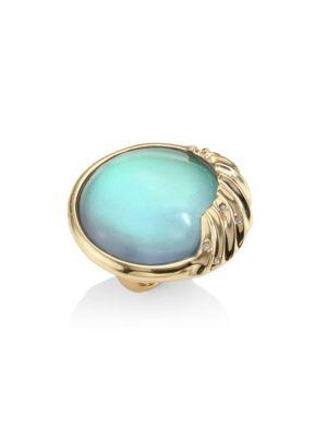 Alexis Bittar Lucite Crystal-Studded Sculptural Sphere Cocktail Ring In Turquoise