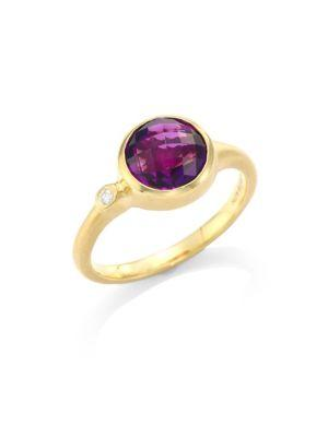 Carelle Amethyst & Diamond 18K Yellow Gold Stack Ring In Yellow Gold-Amethyst