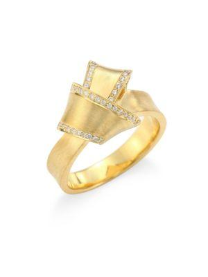 Carelle Jumbo Knot Diamond-Trim 18K Yellow Gold Ring