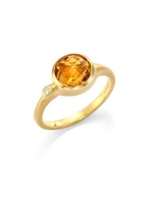 Carelle Orange Citrine & Diamond 18K Yellow Gold Stack Ring In Yellow Gold-Citrine