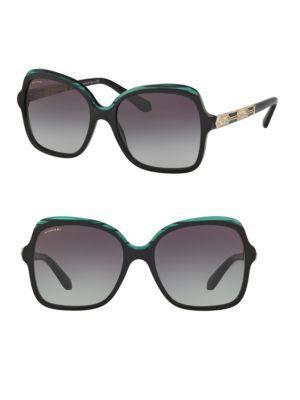 Bvlgari 56Mm Square Sunglasses In Black-Green