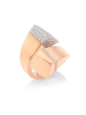 Roberto Coin Sauvage PrivÉ Pave Diamond & 18K Rose Gold Bypass Ring