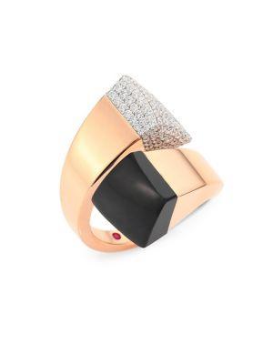 Roberto Coin Sauvage PrivÉ Pave Diamond, Black Jade & 18K Rose Gold Bypass Ring