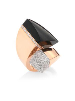 Roberto Coin Sauvage PrivÉ Pave Diamond, Black Jade & 18K Rose Gold Ring