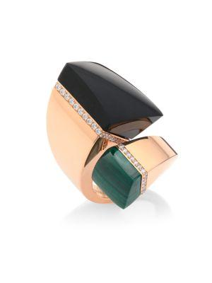 Roberto Coin Sauvage PrivÉ Diamond, Black Jade & Malachite Bypass Ring In Rose Gold