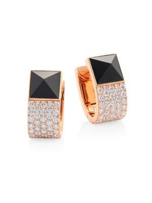 Roberto Coin Sauvage PrivÉ Pyramid Pave Diamond & Black Jade Earrings In Rose Gold