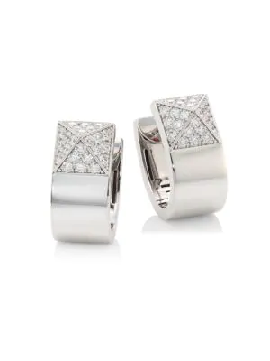 Roberto Coin Sauvage PrivÉ Pyramid Pave Diamond & 18K White Gold Earrings