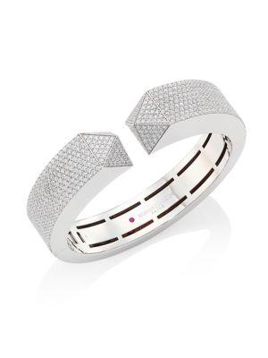 Roberto Coin Sauvage PrivÉ Pyramid Pave Diamond & 18K White Gold Bangle