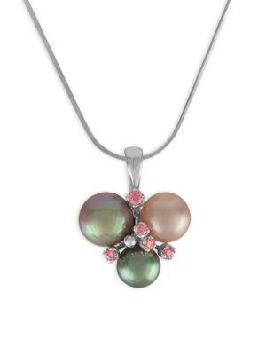 Majorica Sterling Silver Pink Cubic Zirconia & Colored Imitation Pearl Pendant Necklace In Multi