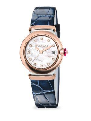 Bvlgari Lvcea Two-Tone Diamond, Mother-Of-Pearl & Blue Alligator Strap Watch