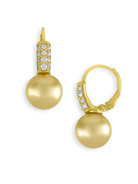 Majorica Gold-Tone Cubic Zirconia & Champagne Imitation Pearl Drop Earrings