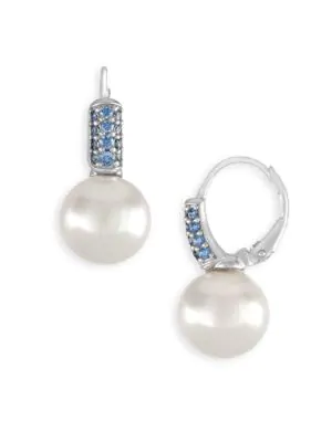 Majorica 10Mm White Pearl & Crystal Drop Earrings