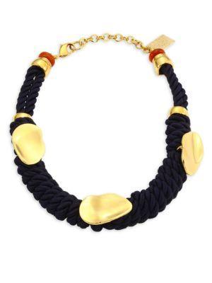 Lizzie Fortunato Zanzibar Cord Necklace In Gold/Navy