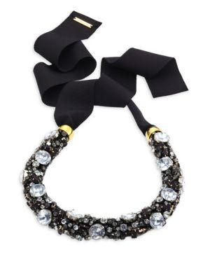 Lizzie Fortunato African Sky Crystal Collar Necklace In Black-Multi