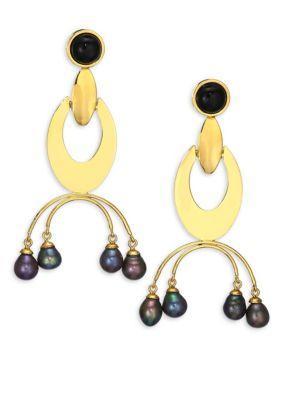 Lizzie Fortunato Gazelle 9Mm Peacock Freshwater Pearl Drop Earrings In Gold
