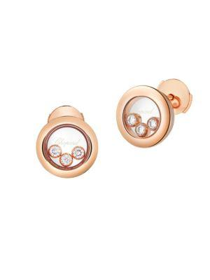 Chopard Happy Diamonds 18K Rose Gold Stud Earrings
