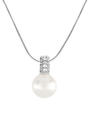 Majorica 12Mm White Pearl, Cubic Zirconia And Sterling Silver Necklace