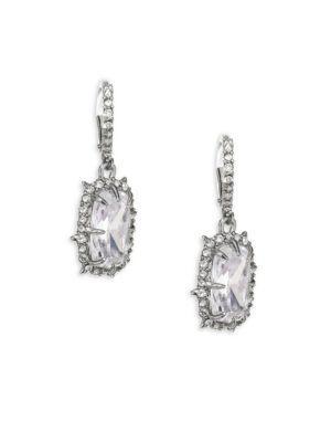 Alexis Bittar Swarvoski Crystal Framed Cushion Drop Earrings In Silver