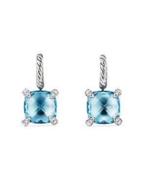 David Yurman Chatelaineblue Topaz & Diamonds Drop Earrings In Blue Topaz