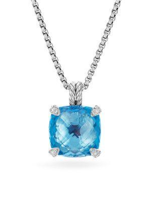 David Yurman Chatelaineblue Topaz & Diamonds Pendant Necklace In Blue Topaz
