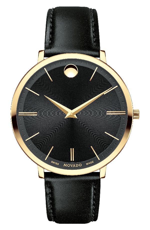 Movado Ultra Slim Goldtone Stainless Steel & Leather Strap Watch In Black/ Gold