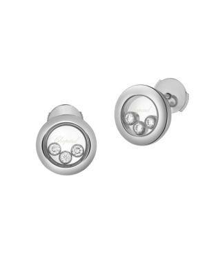 Chopard Happy Diamonds 18K White Gold Stud Earrings